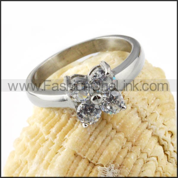 Stainless Steel Comfort Fit Butterfly Zircon Ring r000031