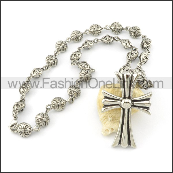 Unique Cross and Flower Casting Necklace   n000486
