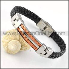 Rose Gold Chain Hasp Black Rubber Bracelet b000022