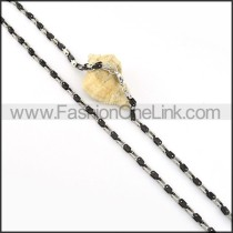 Black and Silver Plated Necklace    n000215