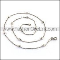 Silver Small Chain with Silver Bead n001175