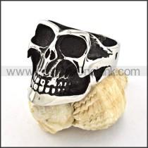 Stainless Steel Skull Biker Ring r000525