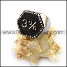 3% Outlaw Biker Ring In Hexagon r004327