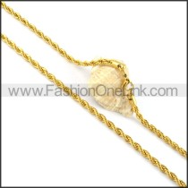 Golden Twisted Rope Plated Necklace    n000054