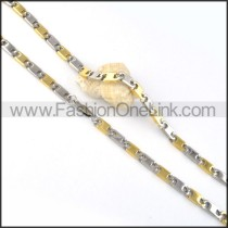 Fashion Two Tone Interlocking Chain Plated Necklace     n000057