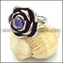 Stainless Steel Purple Zircon Rose Ring r000464