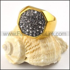 Stainless Steel Zircon Ring r000210