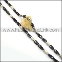 Black and Silver Interlocking Plated Necklace n000820