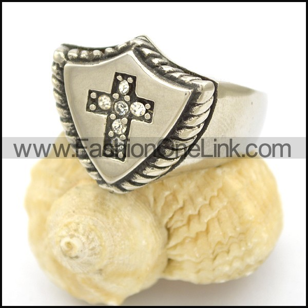 Stainless Steel Cross Ring  r002487