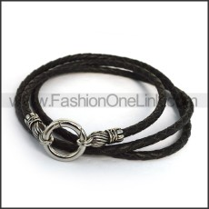 Black Leather Necklace n001161