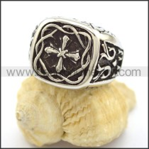 Delicate Stainless Steel Cross Ring r001817