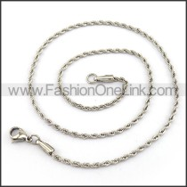 Twisted Rope Silver Stamping Necklace n001213