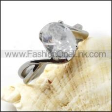 Stainless Steel Elegant Zircon Promise Ringr000032