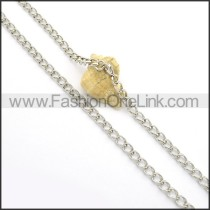 Silver Interlocking Chain Stamping Necklace n000942
