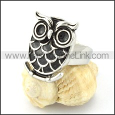 Stainless Steel Owl Design Ring  r00541