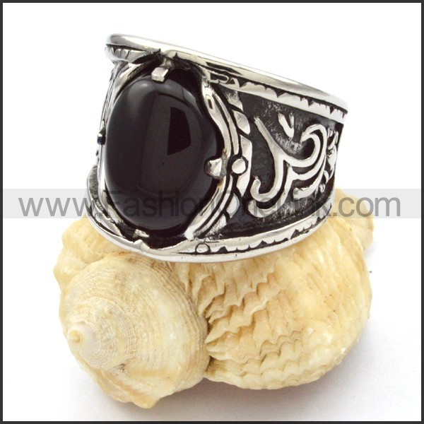 Stainless Steel Black Stone Ring r000486