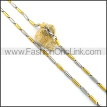 Two Tone Cylinder Plated Necklace n001059