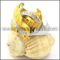Yellow Gold-plating Live to Ride Eagle Ring r000890