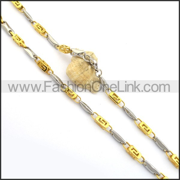 Succinct Gold and Silver Plated Necklace n000776
