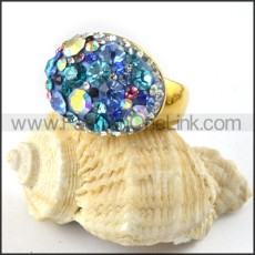 Stainless Steel Colorful Stone Ring r000221