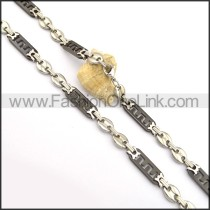 Flat Stainless Steel Black and Silver Plated Necklace n000846
