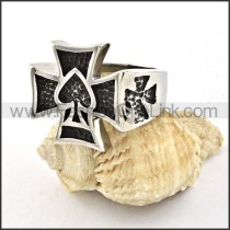 Ace of Hearts-shaped Cross Ring r000523