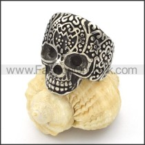 Stainless Steel Totem Design Skull Ring r000425