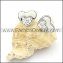 Heart Shape Stone Stainless Steel Earrings   e000150