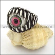 Stainless Steel Dark Red Eye Ring r000534