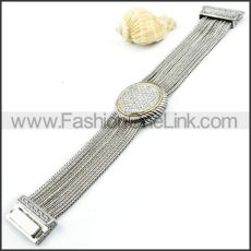 Translucent Stone Watch Dial and Chain Watch Band Bracelet b000004
