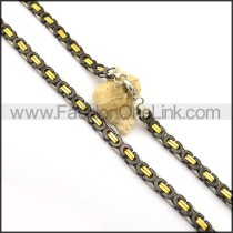 Black and Gold Plated Necklace n000980