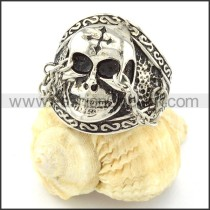 Stainless Steel Nose Chain Skull Ring r000669