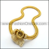 Gold Ring Stamping Necklace n001020