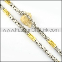 Succinct Two Tone Plated Necklace      n000164