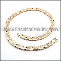 Rose Golden Interlocking Necklace with Clear Stone n000891
