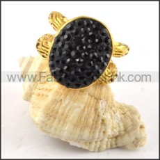 Black Artificial Diamond Ring in Steel r000194