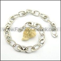 Silver Interlocking Stainless Steel Stamping Necklace n000921