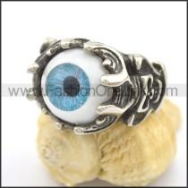 Stainless Steel Prong Setting Blue Eye Ring r002286