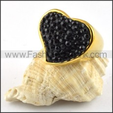 Heart Stainless Steel Ring with Black Rhinestones r000202