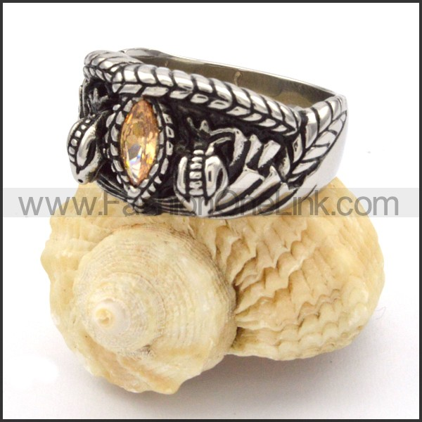 Stainless Steel Vintage Stone Ring r000331