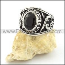 Vintage Black Round Stone Ring r000544
