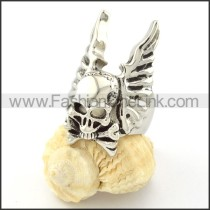 Stainless Steel Skull Ring with Wings  r000696
