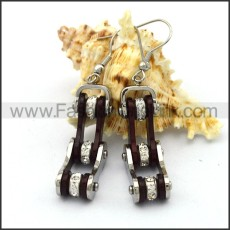 Black and Silver Biker Earrings    e001063