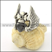 Stainless Steel Black Zircon with Wings Ring r001134