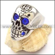 Stainless Steel Blue Eyes Skull Ring r000475