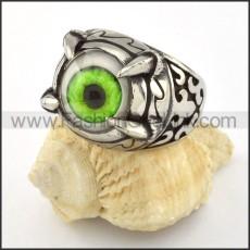 Stainless Steel Prong Setting Green Eye Ring r000539