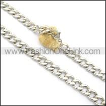 Silver Interlocking Stamping Necklace n001007