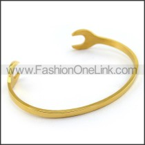 Gold Stainless Steel Cutting Spanner Bangle b004579