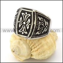 Stainless Steel Vintage Flower Ring r001086