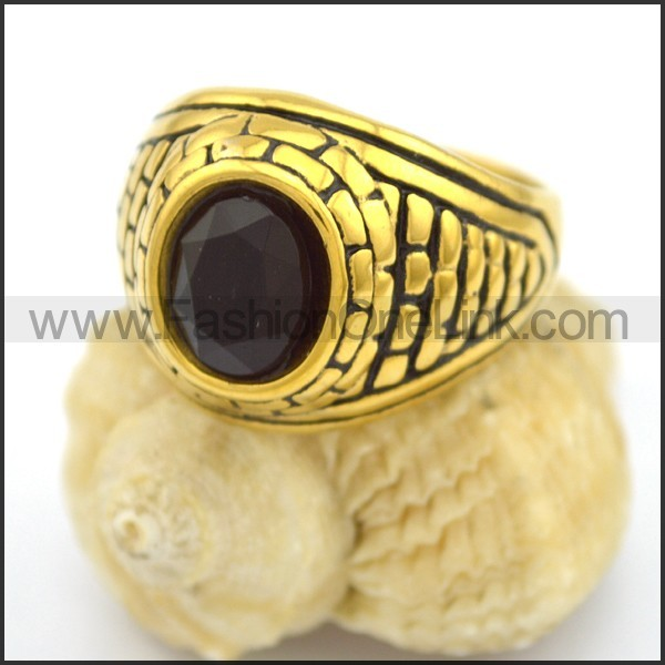 Vintage Stone Stainless Steel Ring r002693